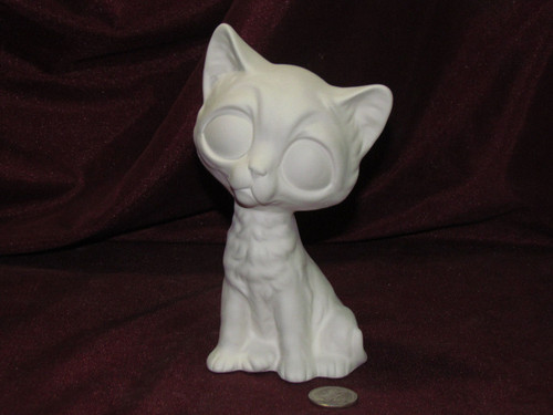 Ceramic Bisque Big Eyed Cat pyop unpainted ready to paint diy