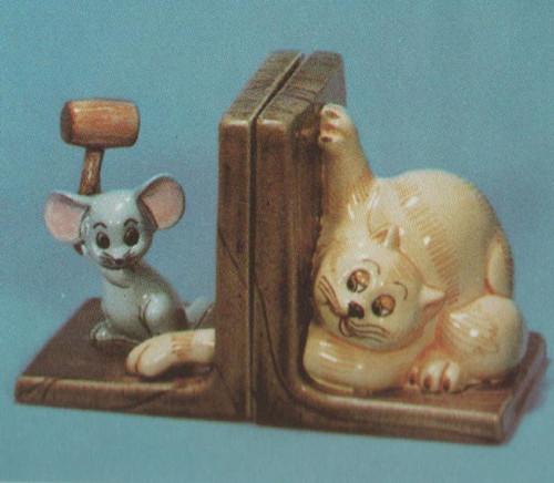 Ceramic Bisque Cat & Mouse Bookend Set pyop unpainted ready to paint diy
