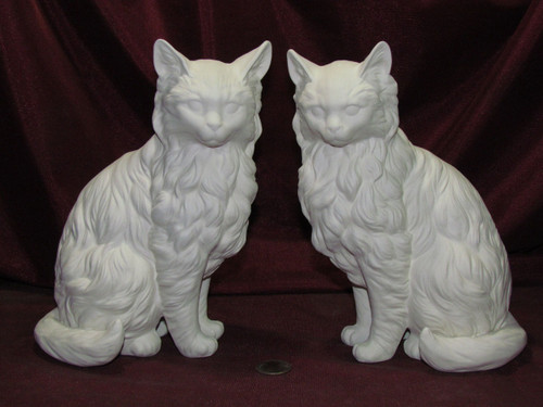Ceramic Bisque Set of 2 Sitting Cats Right & Left pyop unpainted ready to paint diy