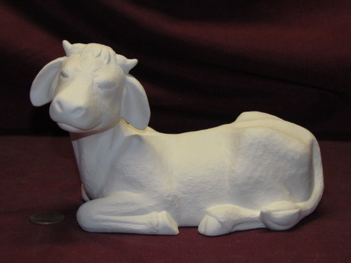 Ceramic Bisque Cow Lying Down Eyes Closed pyop unpainted ready to paint diy