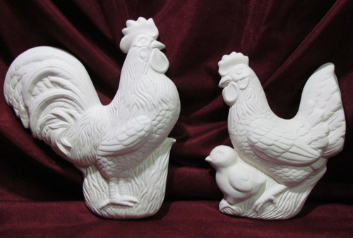 Ceramic Bisque Rooster Hen & Chick Wall Hanging 2 Piece pyop unpainted ready to paint diy