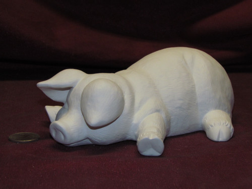 Ceramic Bisque Pig Sleeping On Belly pyop unpainted ready to paint diy