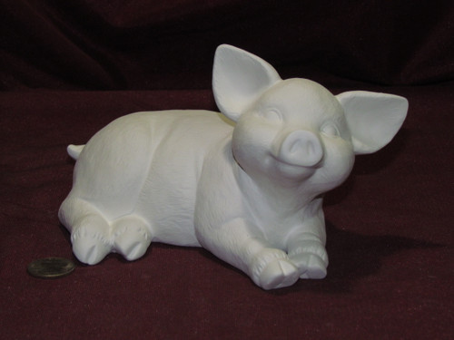 Ceramic Bisque Lying Pig pyop unpainted ready to paint diy
