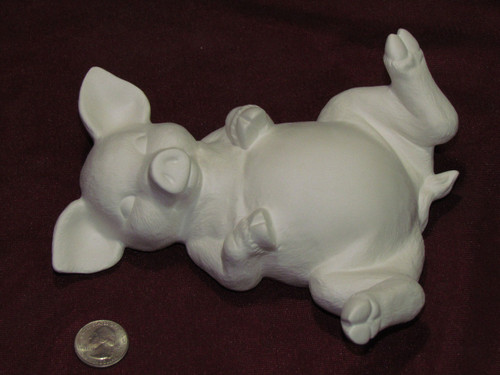 Ceramic Bisque Pig Lying On Back pyop unpainted ready to paint diy