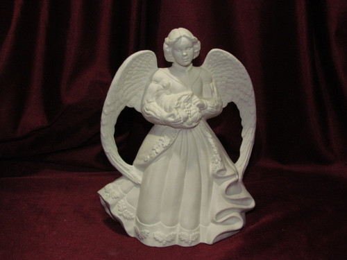 Ceramic Bisque Fall Harvest Angel With A Cornucopia pyop unpainted ready to paint diy