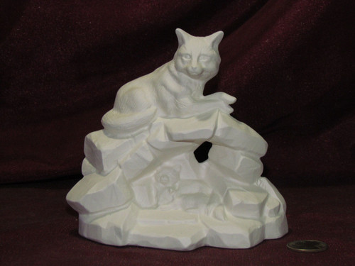Ceramic Bisque Fox With Babies On Rock Base pyop unpainted ready to paint diy