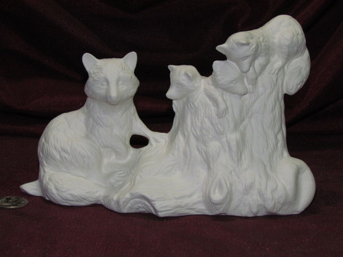 Ceramic Bisque Raccoon Family On A Log pyop unpainted ready to paint diy