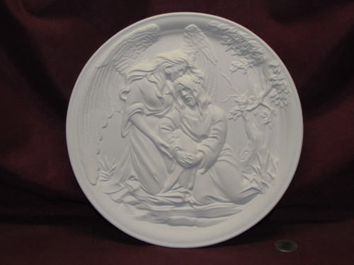 Ceramic Bisque Agony in the Garden Plate - Jesus Christ and Angel pyop unpainted ready to paint diy