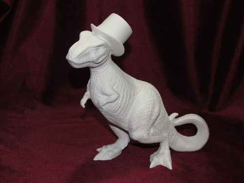 Ceramic Bisque T Rex In A Top Hat pyop unpainted ready to paint diy