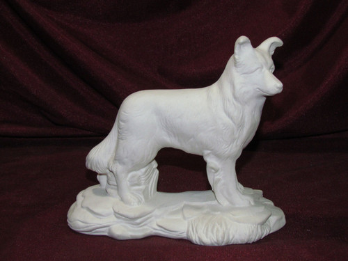 Ceramic Bisque Border Collie On Rock Base pyop unpainted ready to paint diy