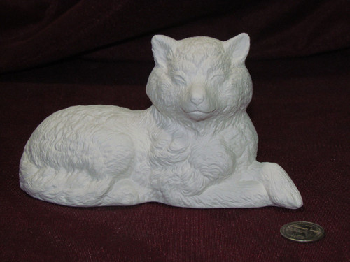 Ceramic Bisque Sleepy Dog With Eyes Closed pyop unpainted ready to paint diy