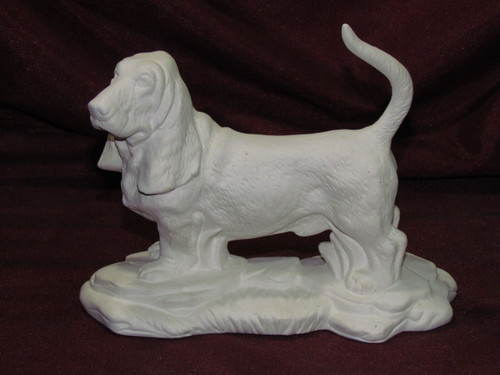 Ceramic Bisque Basset Hound Dog On Rock Base pyop unpainted ready to paint diy