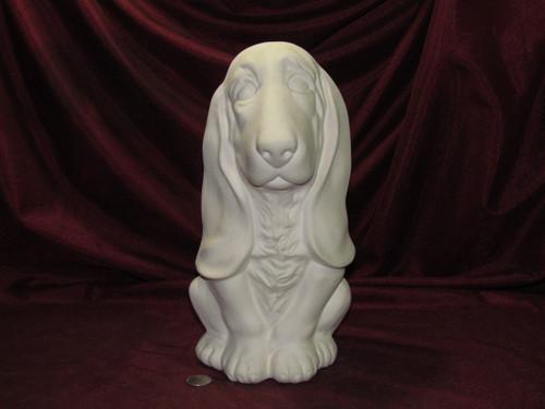 Ceramic Bisque Sitting Basset Hound pyop unpainted ready to paint diy