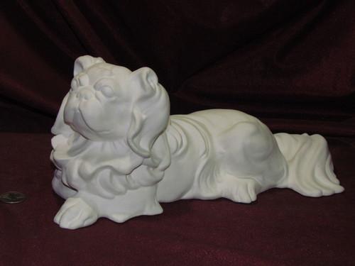 Ceramic Bisque Lying Pekingese pyop unpainted ready to paint diy