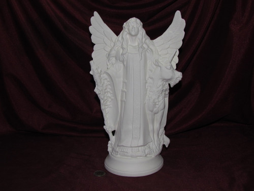 Ceramic Bisque Fantasy Maiden Angel with a Unicorn pyop unpainted ready to paint diy