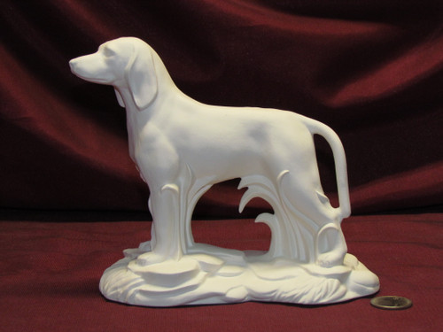 Ceramic Bisque Blue / Red Tick Hound On Rock Base pyop unpainted ready to paint diy