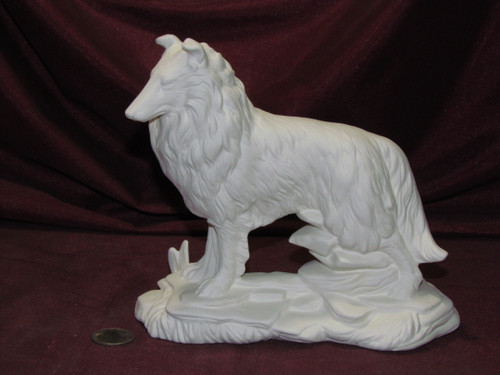 Ceramic Bisque Collie Dog On Rock Base pyop unpainted ready to paint diy