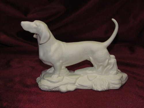 Ceramic Bisque Dachshund On Rock Base pyop unpainted ready to paint diy
