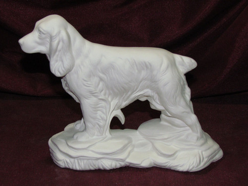 Ceramic Bisque Cocker Spaniel On Rock Base pyop unpainted ready to paint diy
