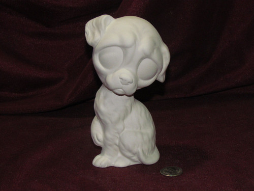 Ceramic Bisque Dog With Big Eyes pyop unpainted ready to paint diy