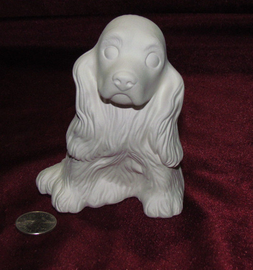 Ceramic Bisque Small Cocker Spaniel pyop unpainted ready to paint diy