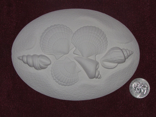 Ceramic Bisque Set of 2 Dona's Inserts ~ Seashells pyop unpainted ready to paint diy