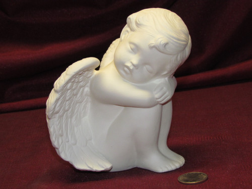 Ceramic Bisque Cherub Sleeping Facing Right pyop unpainted ready to paint diy