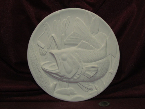 Ceramic Bisque Bass Fish Plate Wall Hanging pyop unpainted ready to paint diy
