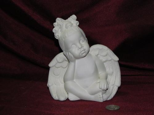 Ceramic Bisque Daydreamer Cherub Girl pyop unpainted ready to paint diy