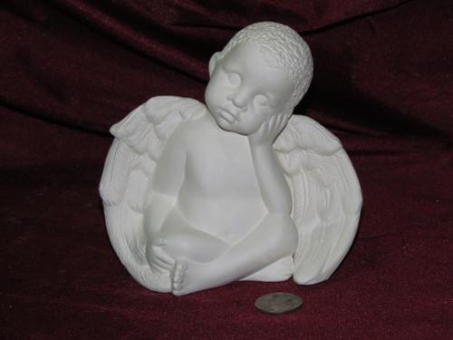 Ceramic Bisque Daydreamer Cherub Boy pyop unpainted ready to paint diy