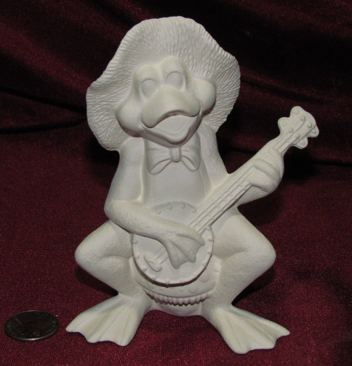 Ceramic Bisque Frog Band Member Bajo Player pyop unpainted ready to paint diy