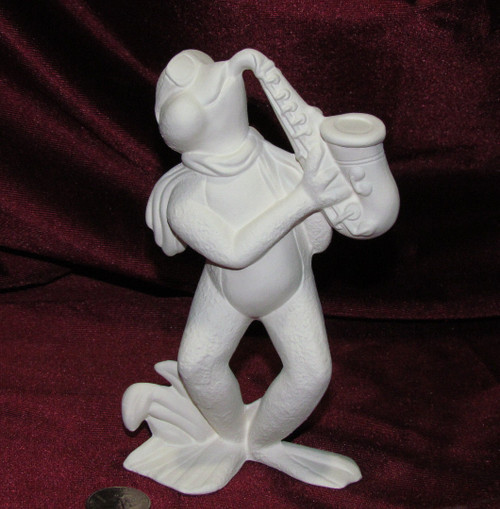 Ceramic Bisque Frog Band Member Saxophone Player pyop unpainted ready to paint diy