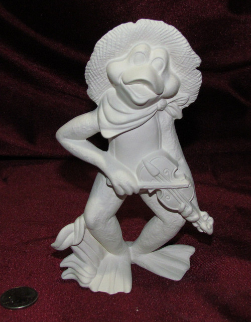 Ceramic Bisque Frog Band Member Fiddle Player pyop unpainted ready to paint diy