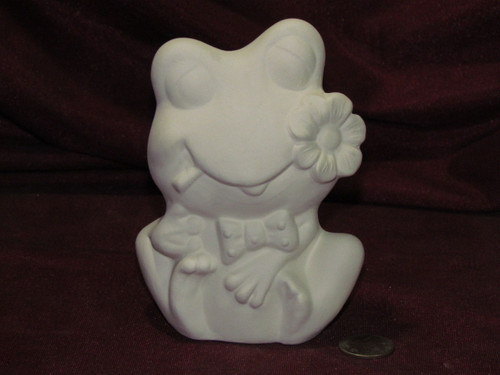 Ceramic Bisque Frog With Flower unpainted ready to paint