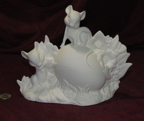 Ceramic Bisque Easter Egg Being Painted By Mice pyop unpainted ready to paint diy
