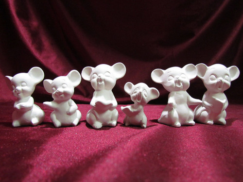 Ceramic Bisque Caroling Mice set of 6 pyop unpainted ready to paint diy