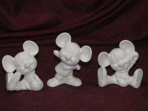 Ceramic Bisque Sports Mice set of 3 pyop unpainted ready to paint diy