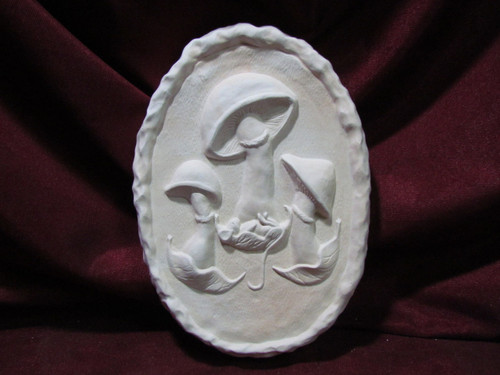 Ceramic Bisque Mouse & Mushroom Wall Hanging pyop unpainted ready to paint diy