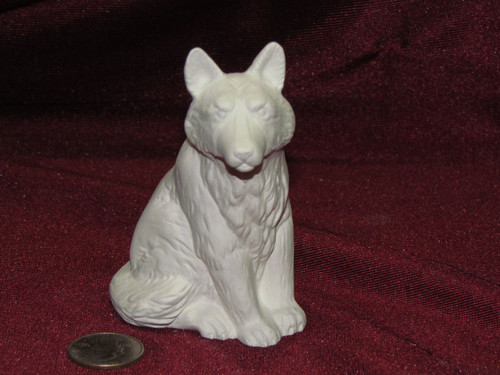 Ceramic Bisque Small Grumpy Wolf Up pyop unpainted ready to paint diy