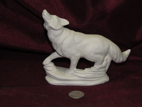 Ceramic Bisque Wolf On Rock Base pyop unpainted ready to paint diy