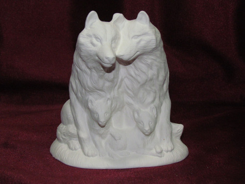 Ceramic Bisque Wolf Family pyop unpainted ready to paint diy