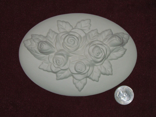Ceramic Bisque Set of 2 Dona's Inserts ~ Wild Rose pyop unpainted ready to paint diy
