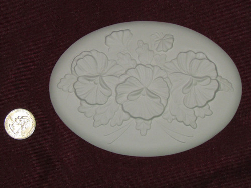 Ceramic Bisque Set of 2 Dona's Inserts ~ Pansies pyop unpainted ready to paint diy