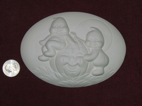 Ceramic Bisque Set of 2 Dona's Inserts ~ Ghosts & Pumpkin pyop unpainted ready to paint diy