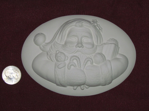 Ceramic Bisque Set of 2 Dona's Inserts ~ Santa Claus pyop unpainted ready to paint diy