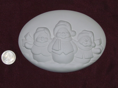Ceramic Bisque Set of 2 Dona's Inserts ~ Snowmen pyop unpainted ready to paint diy
