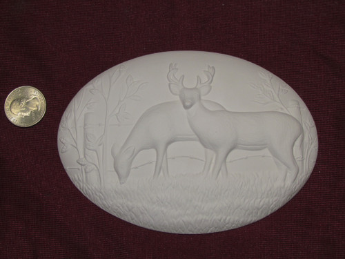 Ceramic Bisque Set of 2 Dona's Inserts ~ Whitetail Deer pyop unpainted ready to paint diy