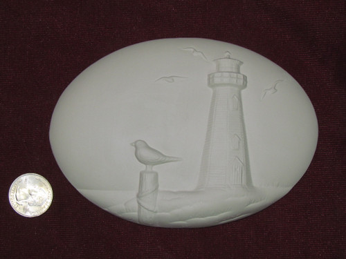 Ceramic Bisque Set of 2 Dona's Inserts ~ Lighthouse pyop unpainted ready to paint diy