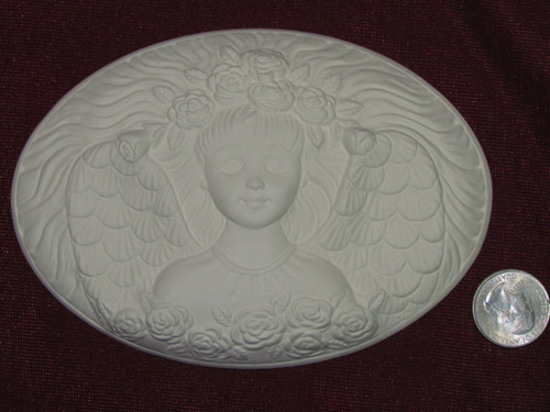 Ceramic Bisque Set of 2 Dona's Inserts ~ Garden Angel pyop unpainted ready to paint diy