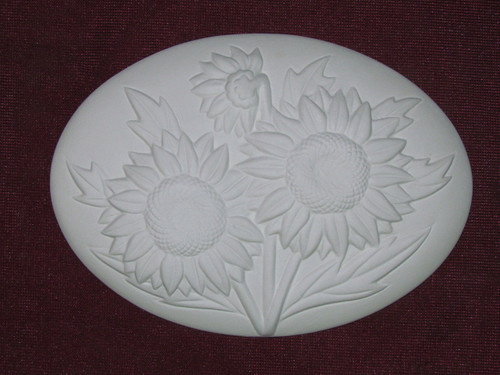 Ceramic Bisque Set of 2 Dona's Inserts ~ Sunflowers pyop unpainted ready to paint diy